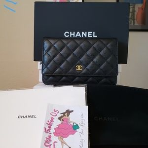 Chanel black caviar wallet on chain gold hw bag